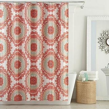 Anthology Bungalow 72-Inch x 72-Inch Shower Curtain in Coral
