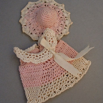 MIGNONETTE Antique DOLL Dress Hat CLOTHES Crochet Pink Cream Silk Ribbon 5 to 5.5 Inch Miniature Dolls