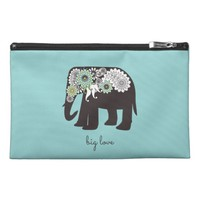 Paisley Elephant Big Love Cute Modern Turquoise Travel Accessory Bag