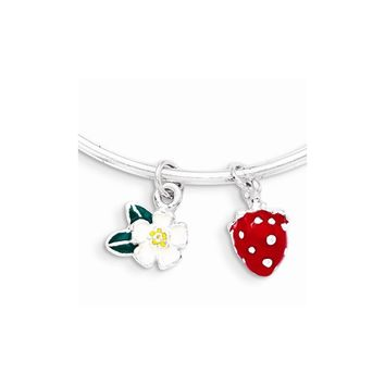 Sterling Silver Enamel Kid\'s Flower And Strawberry Bangle