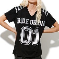 StyleStalker Ride Or Die T-Shirt - Womens Tee - Black -