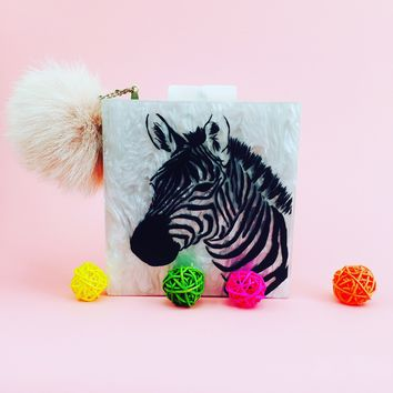 Mother of Pearl Zebra Acrylic Box Clutch