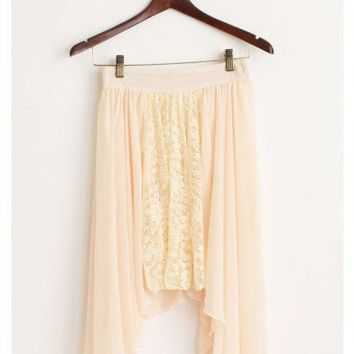Peach Chiffon Lace Skirt