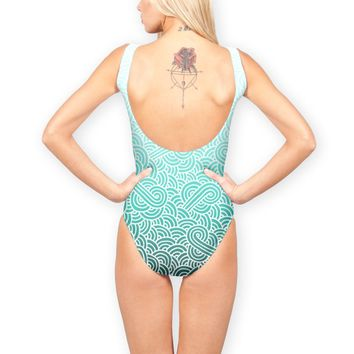'Ombre turquoise blue and white swirls doodles' Swimsuits by Savousepate on miPic