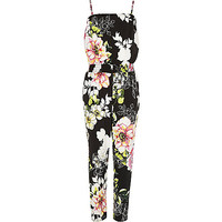 River Island Girls black floral print jumpsuit