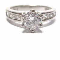 Sterling 1.25 Carat CZ Engagement Ring Size 7.5