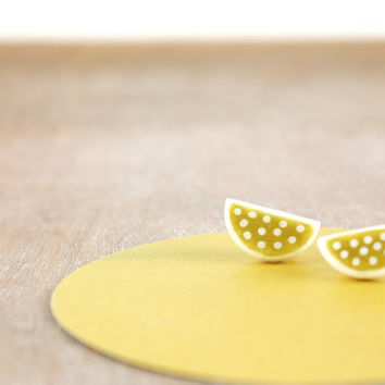 Half moon polka dot earring studs, dainty white gold contemporary jewelry