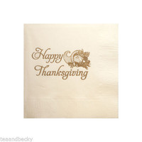 Happy Thanksgiving Napkins Ivory Gold Beverage Cocktail - 120 Set Party Favors