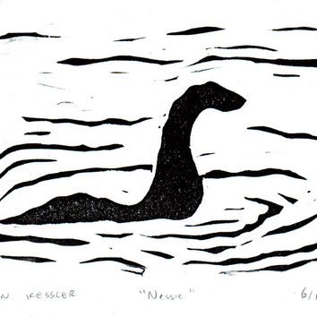 Loch Ness - black and white linocut