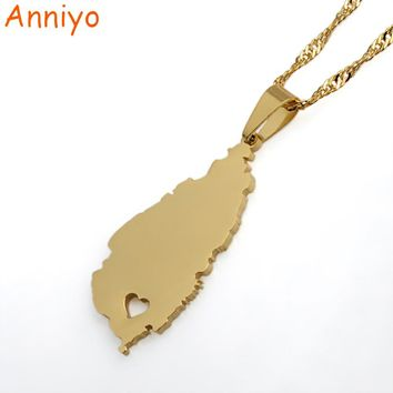 Anniyo Small Heart Saint Lucia Map Necklace For Women Girl Gold