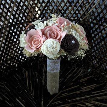 Blush pink and brown bridal bouquet | Rustic bridal bouquet | Rustic wedding | Sola flower bridal bouquet | Keepsake bouquet