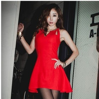 Unique Cropped Top  V-neck Hollow out slim waist sleeveless Party Clubbing wear dress 2013 kawaii dresses for juniors adults = 1945711684