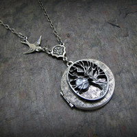 Silver Locket Necklace Tree Of Life Locket Jewelry by CuteAbility