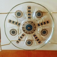 Vintage Crowns and Crests Glass Serving Tray with Removable Platter