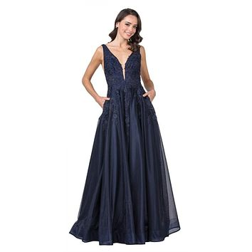 Navy Blue V-Neck and Back Long Prom Dress Appliqued