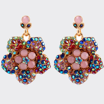 Fashion Metal Rhinestone Floral Earring Strong Character Stylish Luxury Accessory Earrings [6058288257]