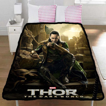 Thor 2 The Dark World Loki Tom Hiddleston Throw Fleece Blanket L,XL - 003