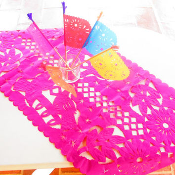 Mexican Wedding Decoration, Pink Table Runner, Papel Picado, Fiesta Party, Mexican Style Ceremony, Mexico table cloth, birthday party kids