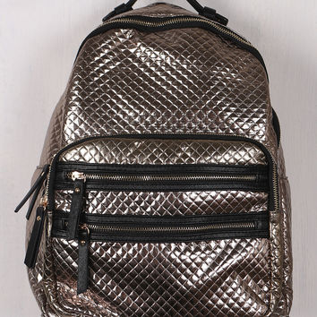 Shiny Metallic Quilted Backpack
