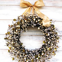HOLIDAY GOLD & ANTIQUE White Berry Wreath-Christmas Door Wreath--Winter Wreath-Wedding Decor-Scented Apple Cinnamon-Choose Scent and Ribbon