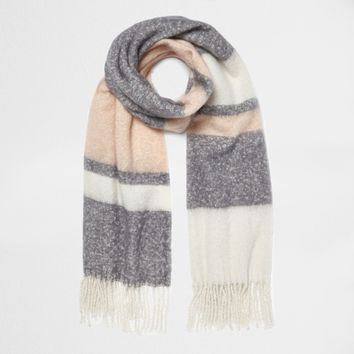 Light pink block stripe blanket scarf - Scarves - Accessories - women