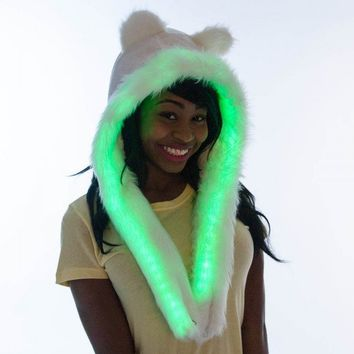 nwt GLO B HAT White Fur Light Up Snood NeoN GREEN LED CLuB RaVe ULTRA *UNiQuE*