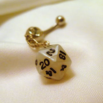D20 dice Belly button ring Maigc the gathering or Dungeons and Dragons dice