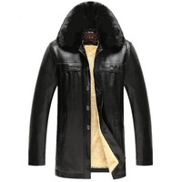 Men Leather Jacket With Fur Collar
