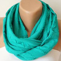 Infinity Scarf, Loop Scarf,Circle Scarf, Cowl Scarf Soft Colorful lots of green chunky design jersey cowl
