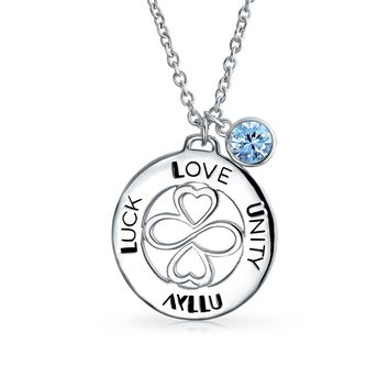Sterling Silver Blue Topaz Color Crystal Circle Pendant Necklace
