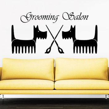 Grooming Salon Wall Decal Pet Shop Vinyl Sticker Decals Dog Comb Scissors Grooming Salon Decor Interior Art Murals Window Decal AN728