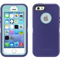 OtterBox Defender Series Case with Holster Clip for iPhone 5s & iPhone 5 - Retail Packaging - Violet Purple/Aqua Blue