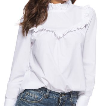 Spring new pure white ruffled long-sleeved shirt female collar collar pullover slim slimming blouse