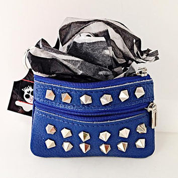 Genuine Leather Blue Coinpurse Wallet Change purse w/ Silver Studs/Spikes Rivets Coin Purse Wallet with Key Ring