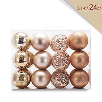 "AMS Christmas Ball Pierced Trees Pendant Shatterproof Ball Ornament Seasonal Decorations Ideal for Xmas, Holiday and Party Widgets 60mm/ 2.36"" (24ct, Champagne)"
