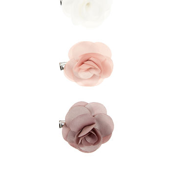 3x Satin Fabric Flower Clips | Multi | Accessorize