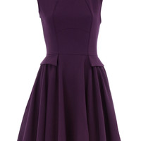Purple curved seam flare dress - Brands at Dorothy Perkins - 96% Polyester,4% Elastane