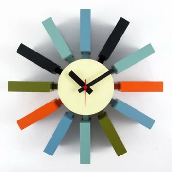 George Nelson Multi-Color Block 11.41 in. Wall Clock - Walmart.com