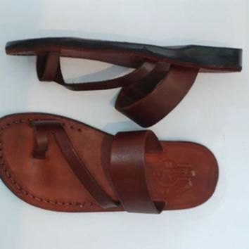 ONETOW leather sandal woman | brown leather sandal | wedding sandal | Jesus sandals woman Gre