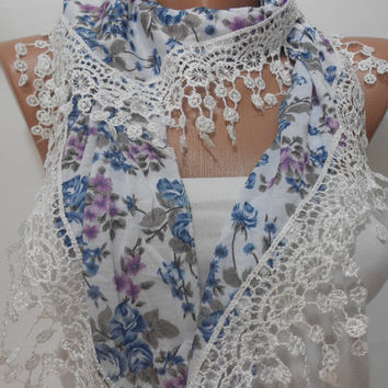 Floral Women Scarf Shawl, Blue White Cowl Scarf with Lace Edge, Gift For Mom For Her, ScarfClub