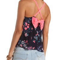 NEON-STRAPPY FLORAL PRINT SWING TANK TOP