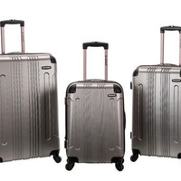 Rockland Luggage 3PC Rolling Hardcase Expandable Spinner London TSA Silver Gray