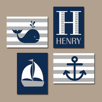 BOY Nautical Wall Art, Hampton Whale Sailboat Anchor, Baby Nursery Artwork, Navy Gray Bedroom,Coastal Theme Decor, CANVAS or Prints,Set of 4