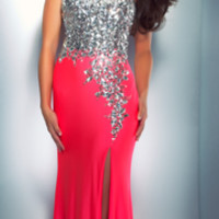 Mac Duggal Prom 2013 - Strapless Neon Pink Sequin & Rhinestone Dress - Unique Vintage - Prom dresses, retro dresses, retro swimsuits.