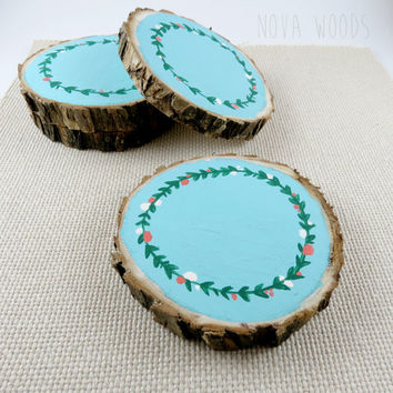 Wooden Slices, Wooden Coasters, Painted Coasters, Laurel Wreath Coasters, Wreath Decor, Blue Coasters, Floral Coasters