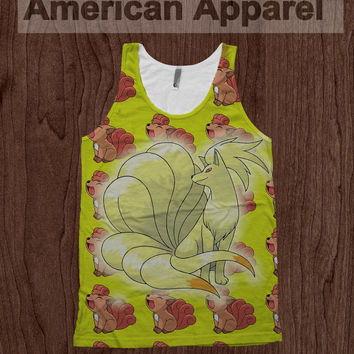 Vulpix Evolution Ninetales - American Apparel Tank Top Pokemon Dye Sublimation