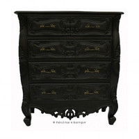 Fabulous & Baroque ? Josette 5 Drawer Carved Chest - Black