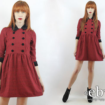 Vintage 90s Red Plaid Babydoll Dress XS S Tuxedo Dress Dolly Dress Red Plaid Dress Plaid Mini Dress Lolita Dress 90s Grunge Dress Red Dress