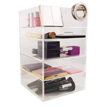 Five Tier Acrylic Makeup Organizer with Open Top