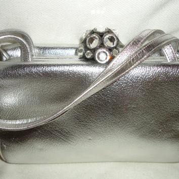 Morris Moskowitz Mid Century Evening Bag Silver Leather Purse with Rhinestone Clasp, Hollywood Glamour FREE SHIPPING